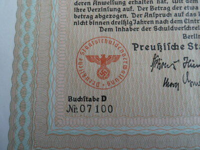 1937 Nazi German Era Prussia State Loan-1000 Reichsmark With Swastika Seal