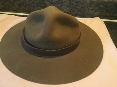 Vintage Boy Scouts Of America Scout Masters Brown Felt Hat Size 7 1/4