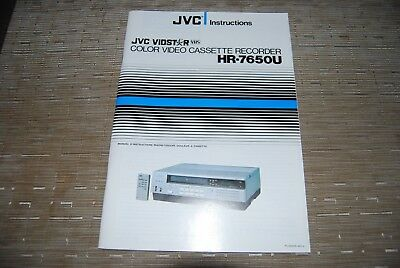 JVC HR-7650U VCR Video Cassette Original Operating Instructions Owners Manual