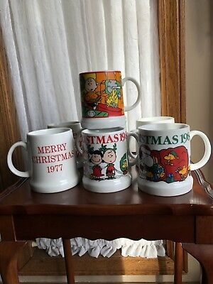 Lot Of 7 Snoopy Mugs 1977 Thru 1983 Christmas