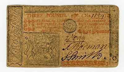 (NJ-150) April 8, 1762 3 Pounds NEW JERSEY Colonial Currency Note