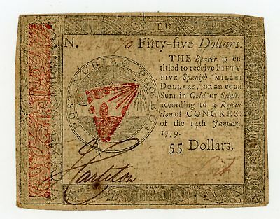 (CC-98) January 14th, 1779 $55 Continental Currency Note