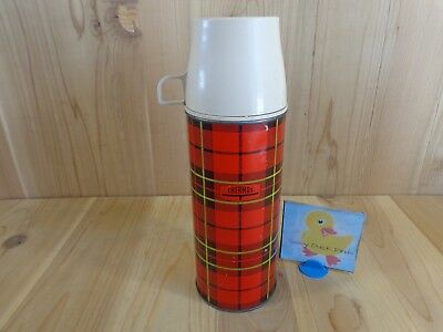VINTAGE 1973 KING SEELEY THERMOS 1.5 Pint Red Plaid Beige Cup Stainless Steel