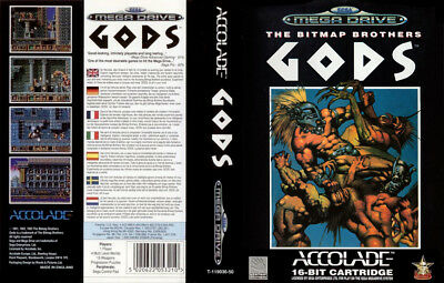 Gods Sega Mega Drive PAL Replacement Box Art Insert Case Cover Repro