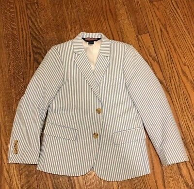 Boys Vineyard Vines Seersucker Jacket EUC  SIZE 6, blue & white