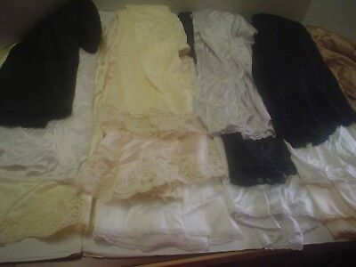 Vintage, Recent Lot Of 14 Size Large Euc, Half Slips, 2 Camisoles, Black,