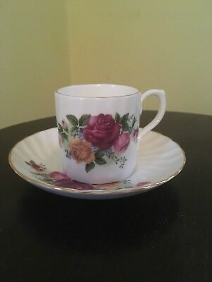 NEW Vintage Regency English Bone China Teacup Tea Cup & Saucer Roses Full Set