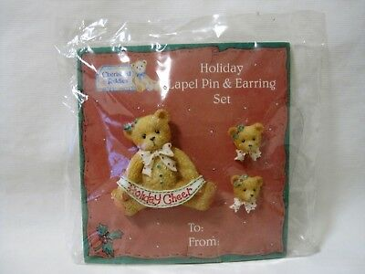 Cherished Teddies Christmas Holiday Lapel Pin & Pierced Earrings Set