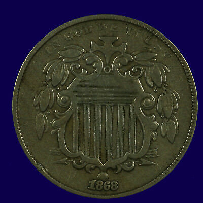 Shield Nickel. 1868 Without Rays EF. Lot # JRRC-06