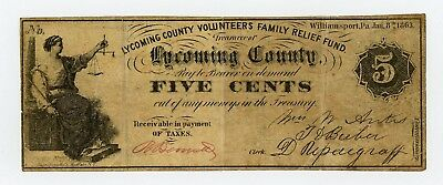 1863 5c Lycoming County Volunteers Family Relief Fund - PENNSYLVANIA Scrip