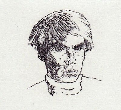 Signed limited edition vintage litho 1980 Andy Warhol portrait by listed artist
