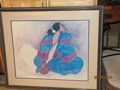"rc gorman framed print ""blue Blanket"