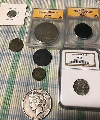 Rare Coins ANACS NGC. 1799 bust dollar. 1797 large Cent error peace v nickel