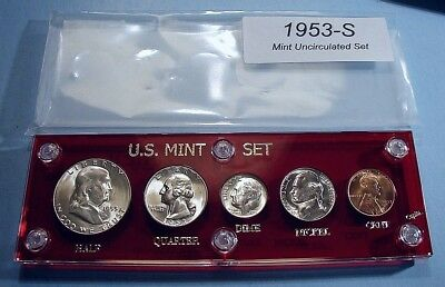 1953-S MINT SILVER SET of U.S. COINS LUSTROUS BRILLIANT UNCIRCULATED VERY FLASHY