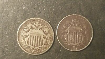 1866 and 1867 Shield Nickels - US coins