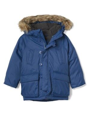 98a51b89e4f6 GAP BABY BOY  Toddler Down Snorkel Parka Jacket Coat Blue Size 18-24 ...
