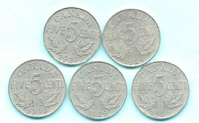 5 Canadian George V 5 Cents-1924-27-28-29  & 1930 Good Mustache
