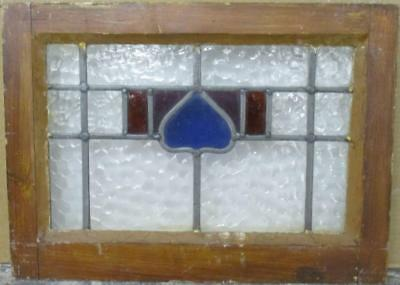 """OLD ENGLISH LEADED STAINED GLASS WINDOW Cute Geometric 19.25"""" x 14"""""""
