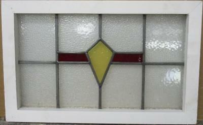 """OLD ENGLISH LEADED STAINED GLASS WINDOW Pretty, Simple Geometric 22.75"""" x 14.25"""""""