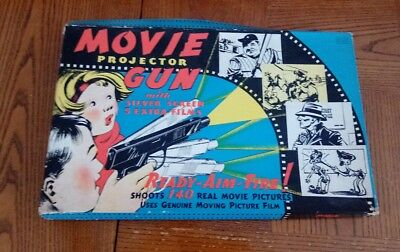 1930's Movie Projector Gun With Silver Screen & 5 Extra Films Complete With Box