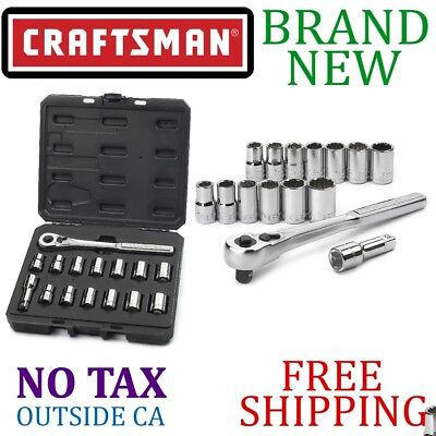 *New* CRAFTSMAN 15pc Piece 12pt Inch, Metric SOCKET WRENCH SET 1/2in Inch DRIVE