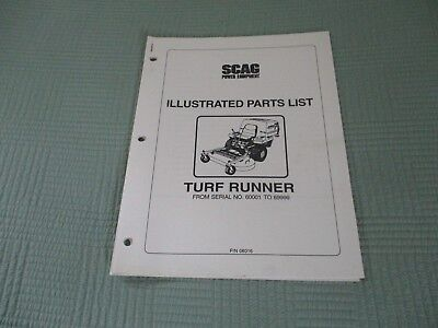 Scag Illustrated Parts list for Turf Runner Used , 3 hole binder set up.