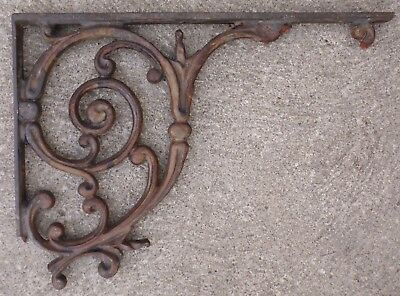 Antique Ornate Cast Iron Architectural Salvage Corner Scroll Porch Sign