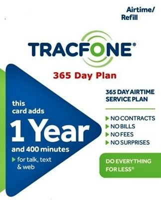 TracFone 365 Days 1 year 400 Minutes / 400 Text / 400MB Data Plan