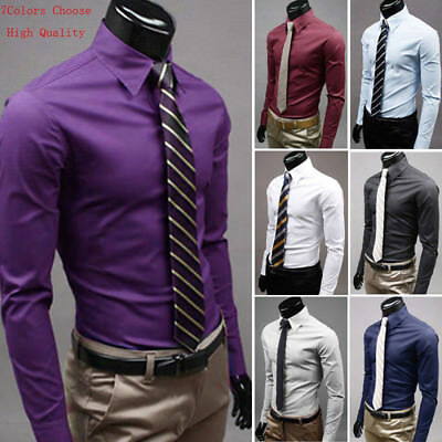 Luxury Men's Stylish Cotton Dress Shirt Slim Fit T-Shirts Formal Long Sleeve AU