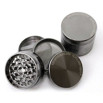 New Chromium Crusher 2 Inch 4 Piece Tobacco Spice Herb Grinder - Gun Metal