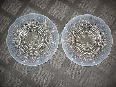 Set Of 2 Beautiful Antique Vintage Hobnail Ruffled Glass Plates--Mint Condition