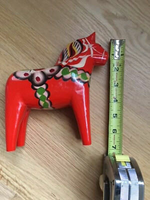 "Vtg Carved Swedish DALA Horse Wooden Folk Art Red 7"" Hand Painted Nils Olsson"