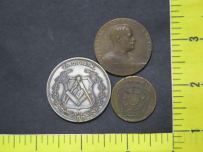 Masonic Paris Club Medal 1919 Member One Penny Mixed Type Coin Collection Lot