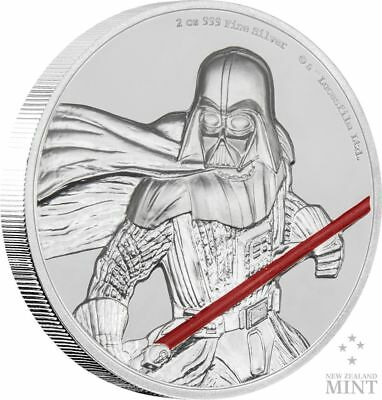 DARTH VADER Star Wars 2 Oz Silver Coin 5$ Niue 2017  with OGP