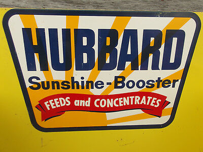 Vintage HUBBARD Sunshine Feed Sign Rack Farm Dealer Seed Dairy Pig Cow Chicken
