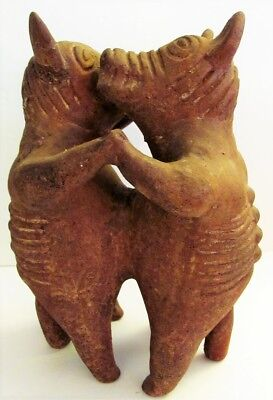 "VTG Large 12"" Pre-Columbian Pottery Dancing Hairless Colima Dogs Terra-Cotta"