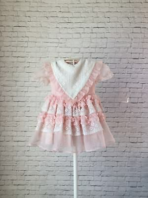 Vintage Marthas Miniatures Pink Sheer Toddler Girls Party Dress Ruffles Lace 3T