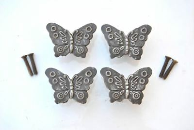 """Vtg cast iron butterfly cabinet drawer door knobs handles pull rustic 4pc 1.6"""""""