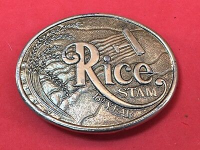 """Vintage Rice STAM """"16th Year"""" Texas growing industry  Brass Belt Buckle 1970s"""
