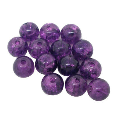 200 Purple Crackle Glass Round Beads 6mm Dia. Findings V1S6