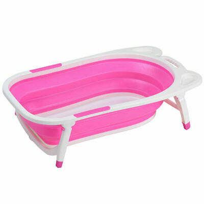 Baby Folding Bathtub Infant Collapsible Portable Shower Basin w/ Block Pink