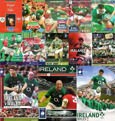 IRELAND v WALES RUGBY PROGRAMMES 1990 - 2014 GOOD + CONDITION - SIX NATIONS