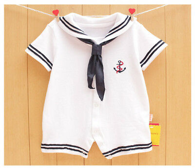 Newborn Infant Kids Baby Boy Girl Romper Jumpsuit Playsuit Clothes Outfits White