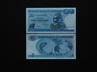 Zimbabwe Banknotes Two Dollar RARE Pick 1 First Issue 1983   Excellent  MINT UNC