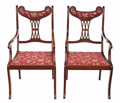 Antique quality pair of inlaid mahogany elbow chairs C1905 4872
