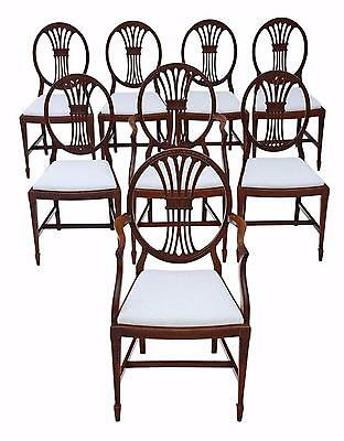 Antique fine quality set of 8 (6+2) mahogany Georgian revival dining chairs