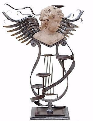 Antique large mixed metal contemporary statue work of art angel candelabra
