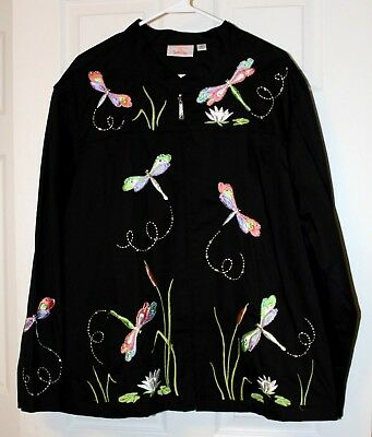Women's 3X QUACKER FACTORY Embroidered Dragonfly Black Embellished Zipper Jacket