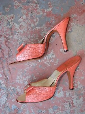 BEAUTIFUL PEACH/ORANGE VINTAGE 1950s SPRING-O-LATERS MULES HEELS 6 SPRINGOLATORS