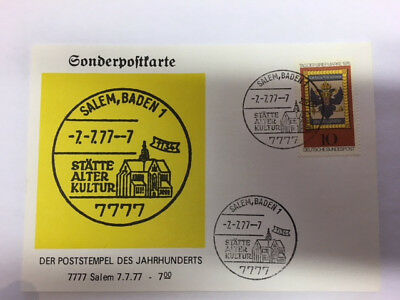 *** Briefmarken Sonderpostkarte 7.7.77 Salem 7777 ***